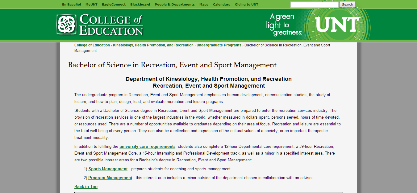 Parks and Recreation Management list of subjects to major in college