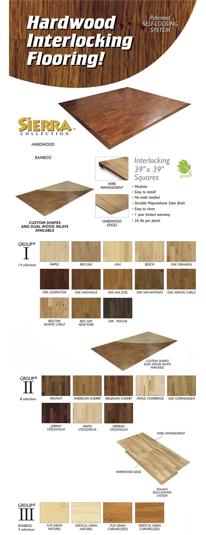 Hardwood Interlocking flooring photo chart