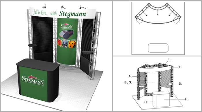 10' x 10' Turnkey Rental Display - Exhibit Booth Rental - APTOS