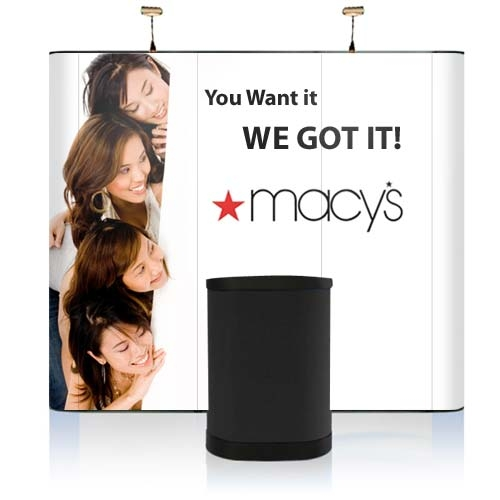 9' Iconic Budget Straight Wall Pop Up Display – Package D
