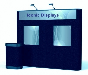 9' Iconic Classic Straight Wall Pop Up Display – Package B