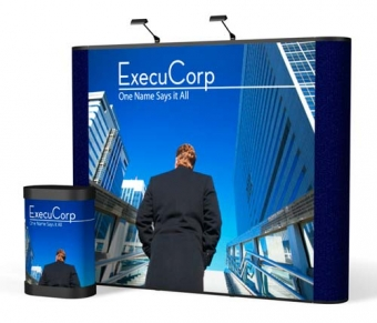 9' Iconic Classic Straight Wall Pop Up Display – Package C