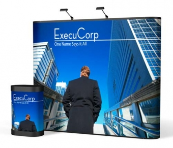 9' Iconic Classic Straight Wall Pop Up Display – Package D