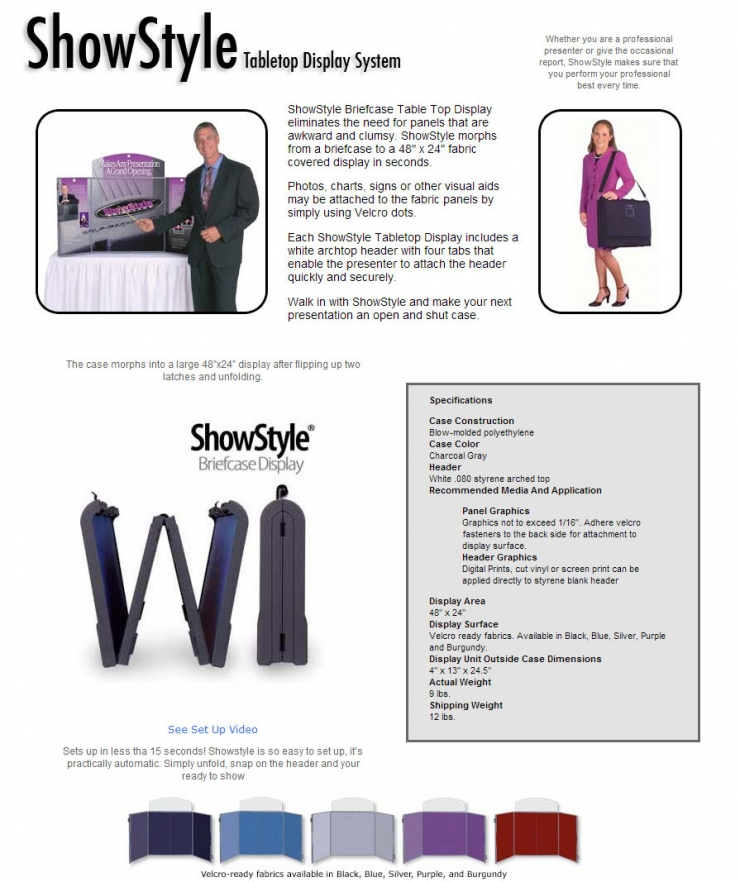 ShowStyle Briefcase Tabletop Display