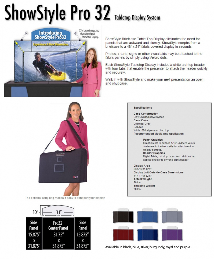 ShowStyle Pro32 Briefcase Tabletop Display