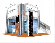 Double Deck Turnkey Booth Rental | 20' x 20' NEW YORK HI-RISE