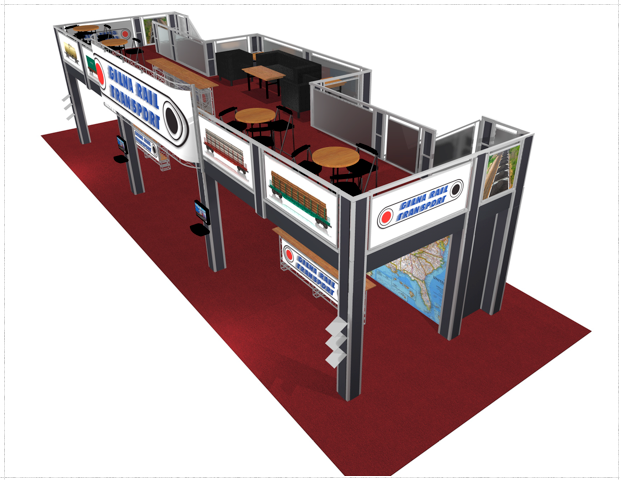 Double Deck Turnkey Booth Rental | 20' x 50' CHICAGO HI-RISE