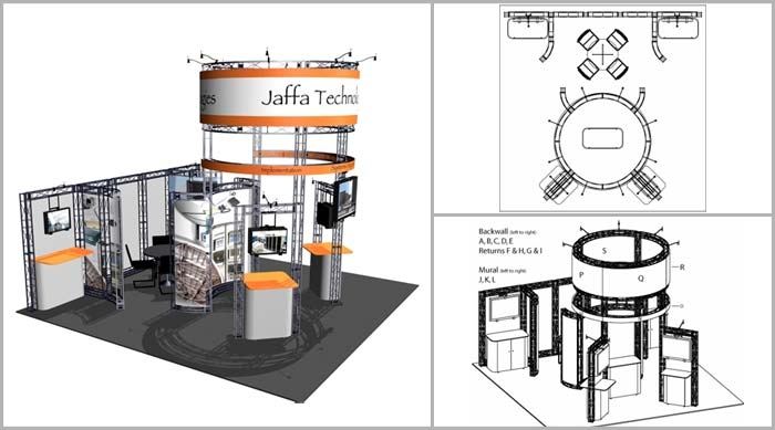 20x20 truss exhibits sierra iconic displays for Trade show floor plan design