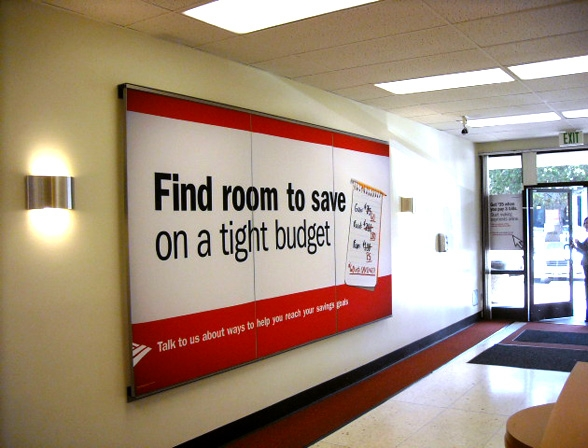 Changeable fabric wall graphic - Bank of America